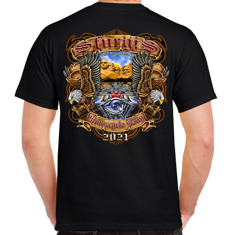 2021 Sturgis Motorcycle Rally Mt. Rushmore Eagle Tribal T-Shirt
