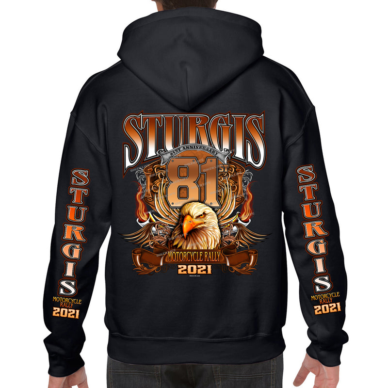 2021 Sturgis Motorcycle Rally Big Banner Eagle Pullover Hoodie