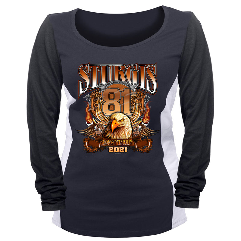 Ladies 2021 Sturgis Motorcycle Rally Big Banner Eagle Two-Toned Long Sleeve