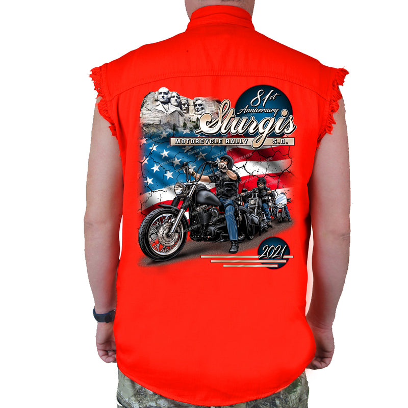 2021 Sturgis Motorcycle Rally American Bikers Cut-Off Denim