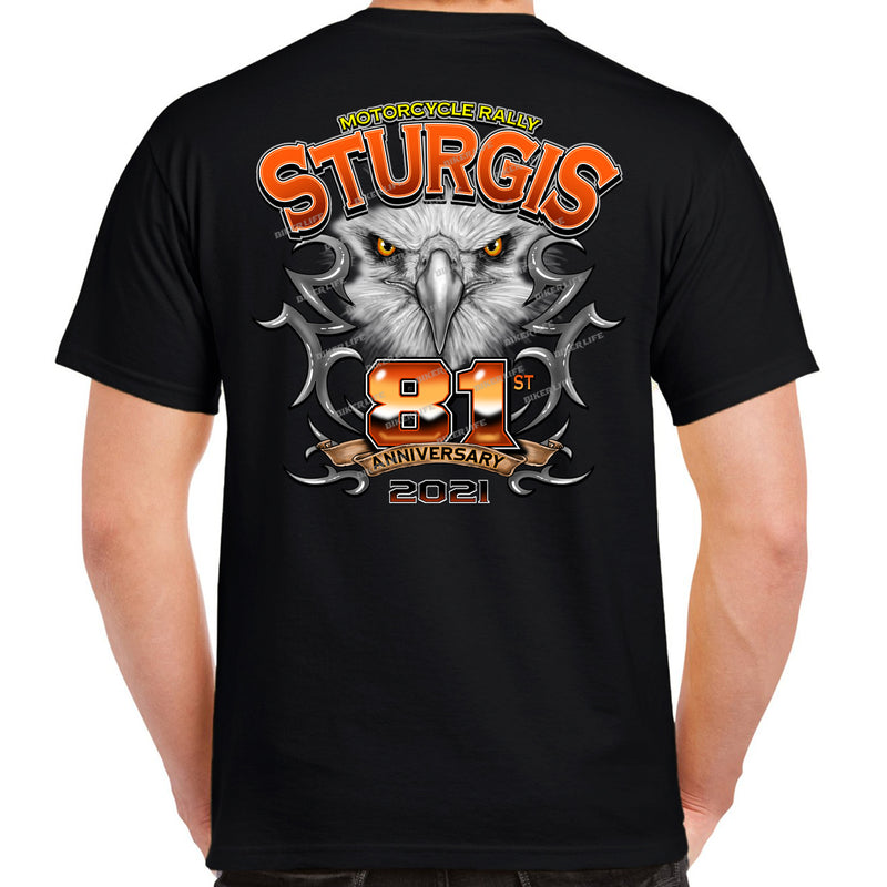 2021 Sturgis Motorcycle Rally 81st Anniversary Chrome Eagle T-Shirt