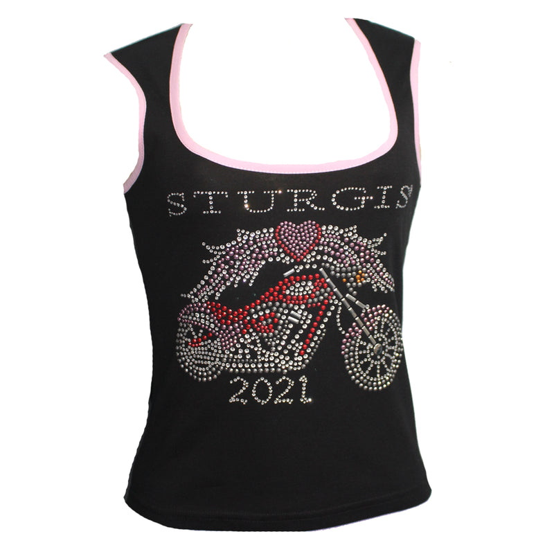 Ladies 2021 Sturgis Motorcycle Rally Motorcycle Angel Rhinestone Wide Strap Scoop Neck Tank Top