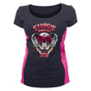 Ladies 2021 Sturgis Motorcycle Rally Crossed Vines Rose Skull Two Toned Shirt