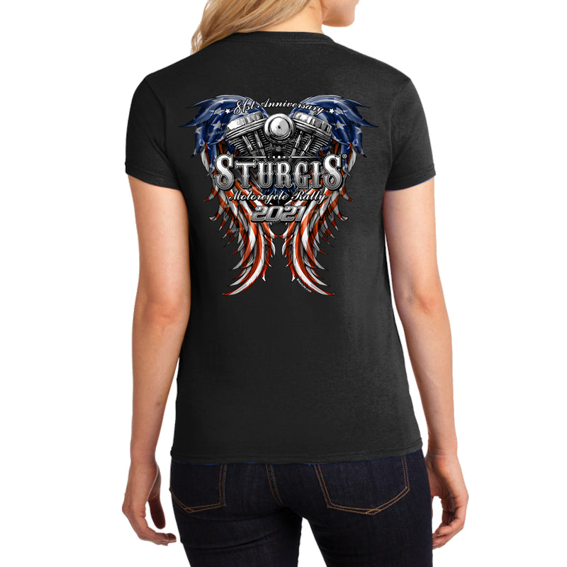 Ladies Missy Cut 2021 Sturgis Motorcycle Rally American Woman T-Shirt