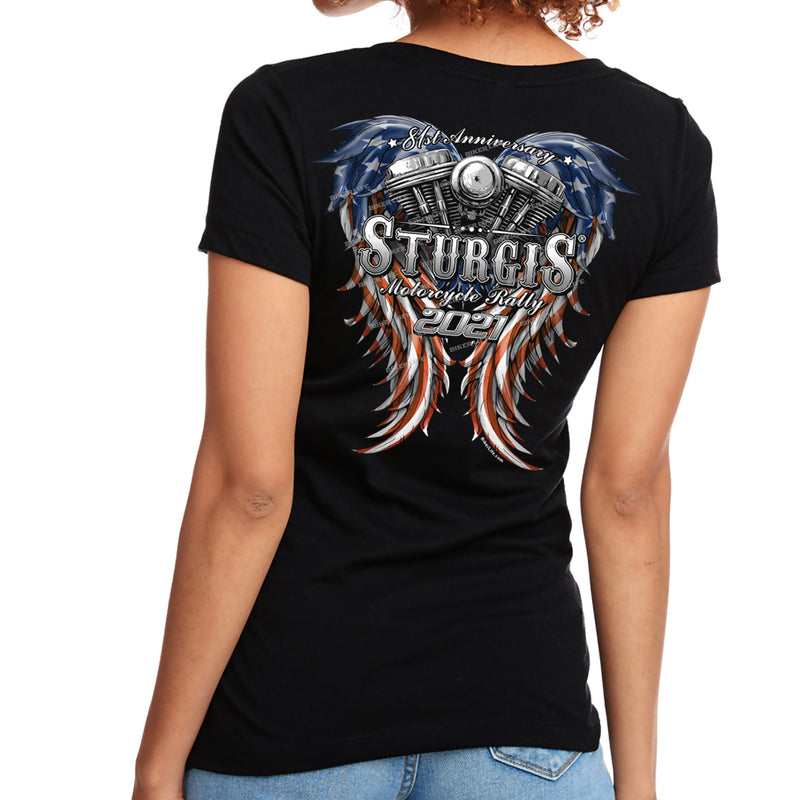 Ladies Jr. Cut 2021 Sturgis Motorcycle Rally American Woman V-Neck T-Shirt