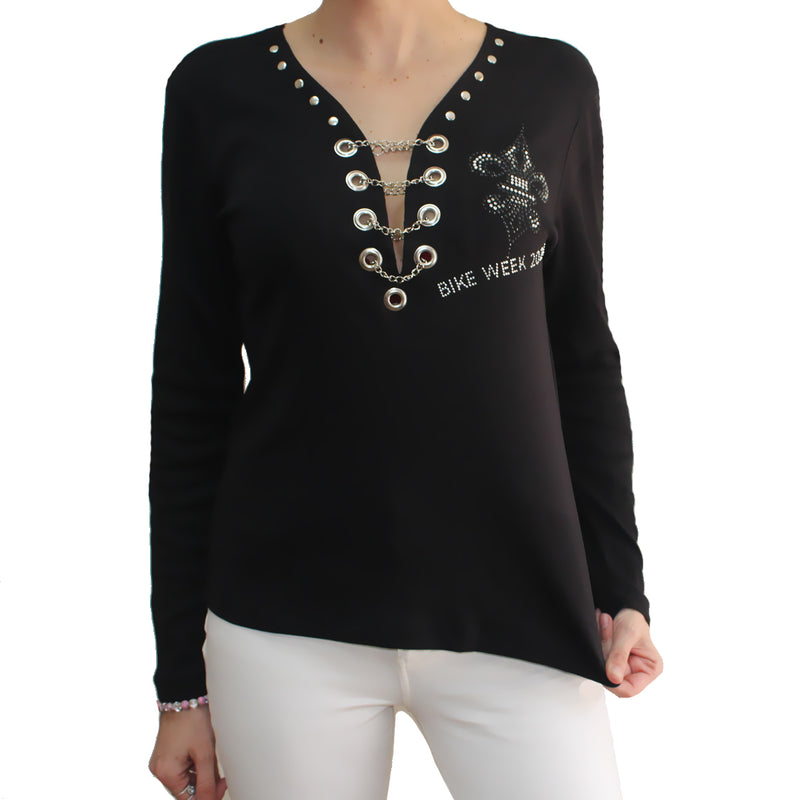 Ladies 2021 Bike Week Daytona Beach Rhinestone Fleur De Lis Wings Chain Front Long Sleeve Shirt