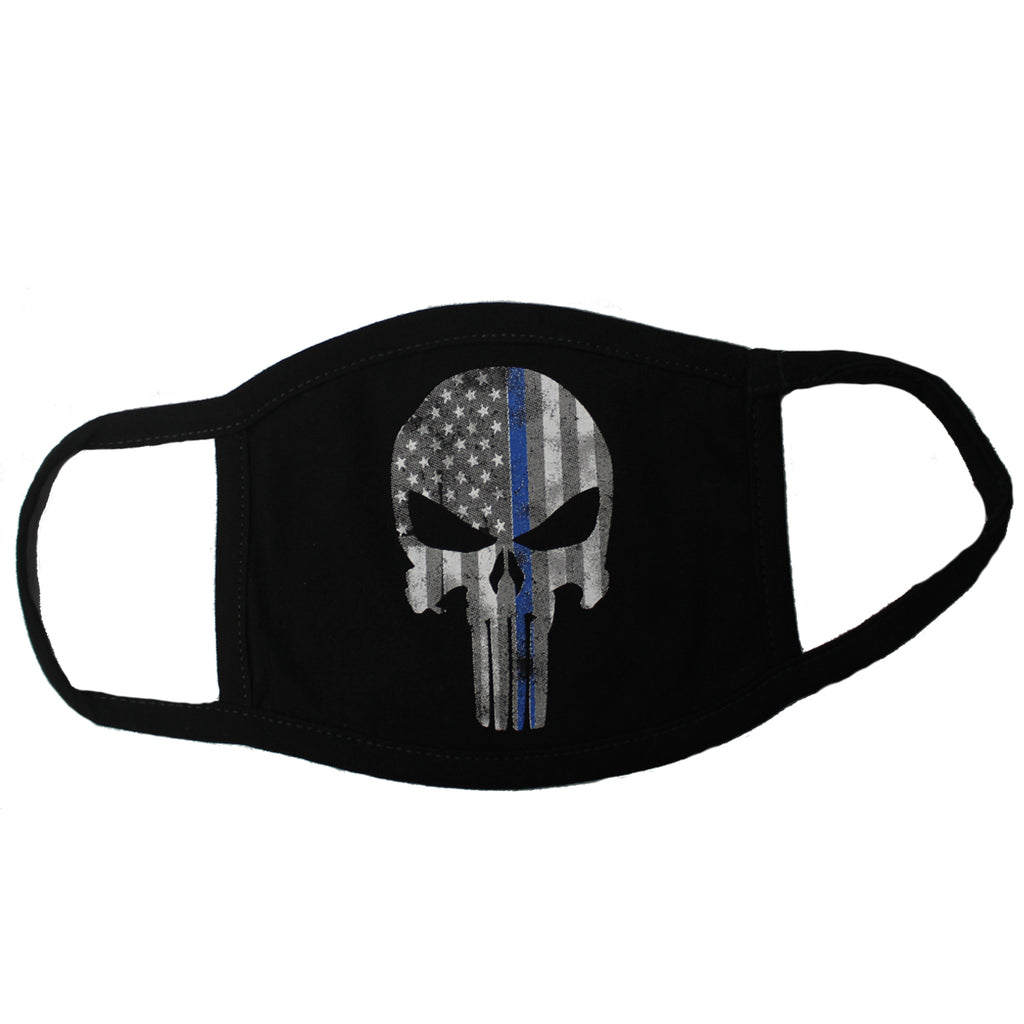 Punisher Blue Flag Skull Face Mask