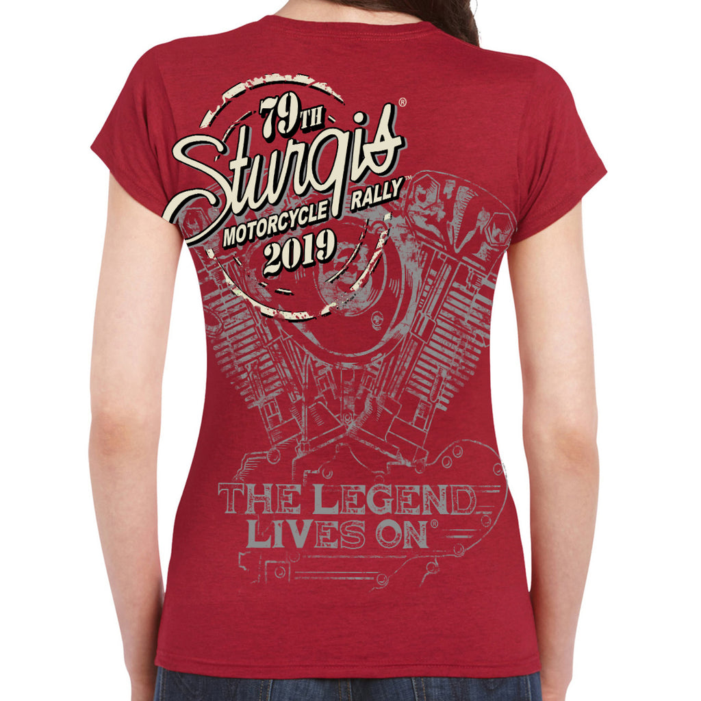 Ladies 2019 Sturgis Black Hills Rally Legend Engine T-Shirt