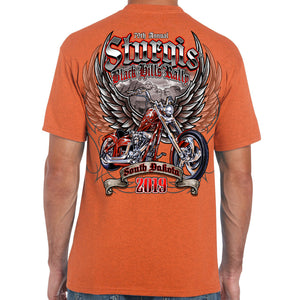 Back of 2019 Sturgis Rushmore Rider T-Shirt in Orange