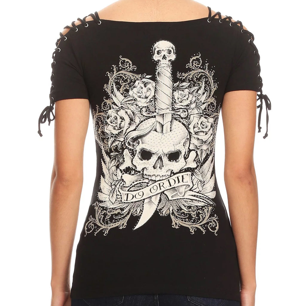 Ladies Rhinestone Do or Die Corset Sleeve Shirt