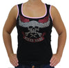Ladies Rhinestone Biker Chick Skull Tank Top