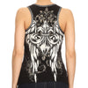 Ladies Rhinestone Fleur de Lis Zip Up Tank Top