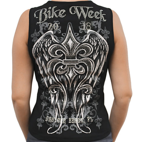 Ladies 2018 Bike Week Daytona Beach Rhinestone Fleur De Lis Wings Chain Front Sleeveless Shirt