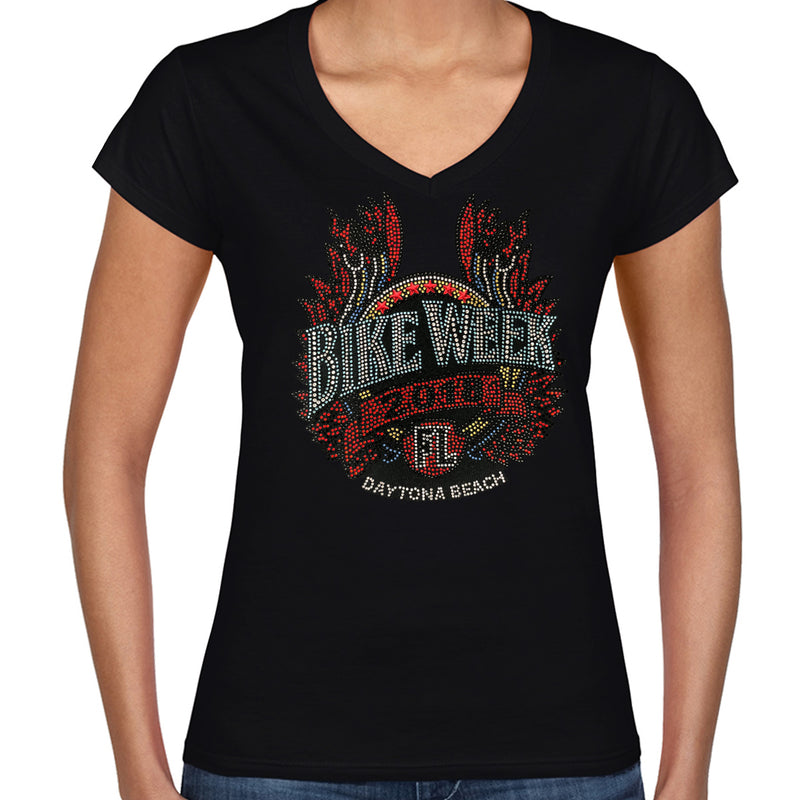 Ladies 2018 Bike Week Daytona Beach Rhinestone Winged Pipe V-Neck T-Shirt