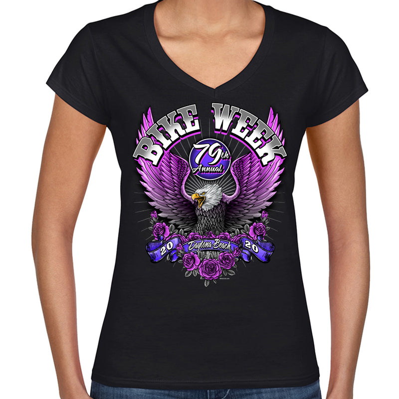Ladies 2020 Bike Week Daytona Beach Pink Eagle V-Neck T-Shirt