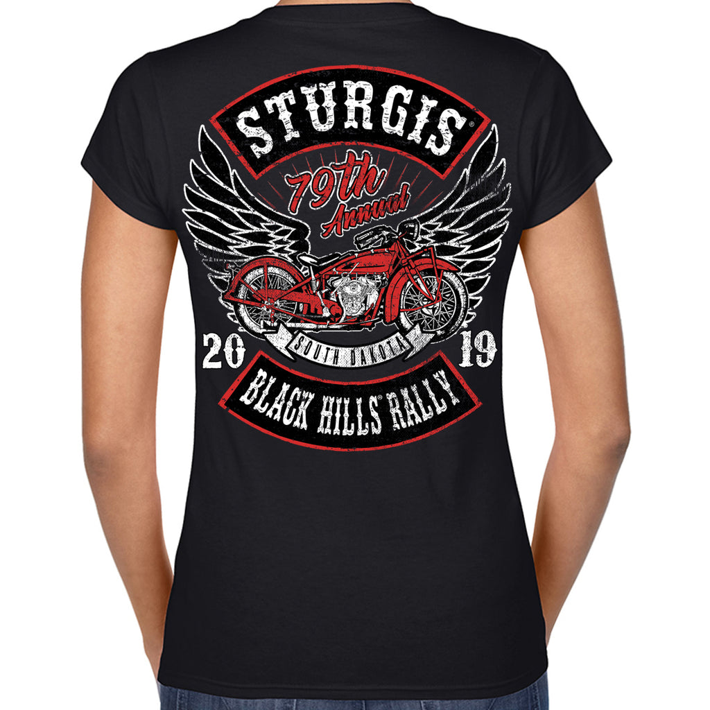Ladies 2019 Sturgis Black Hills Rally Rocker Billy V-Neck T-Shirt