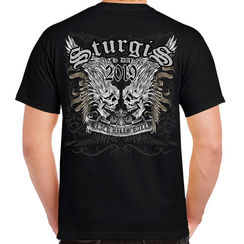 Back of 2019 Sturgis Afflicted Skulls T-Shirt in Black