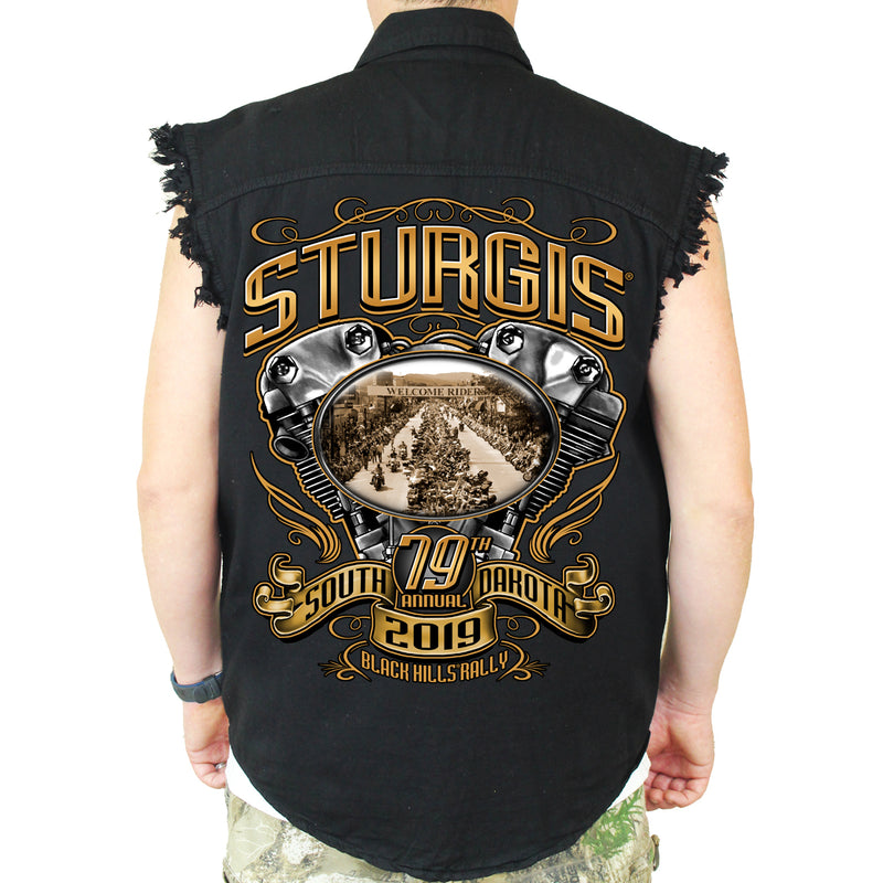 Back of 2019 Sturgis Main Street Engine Cut Off Denim in Black
