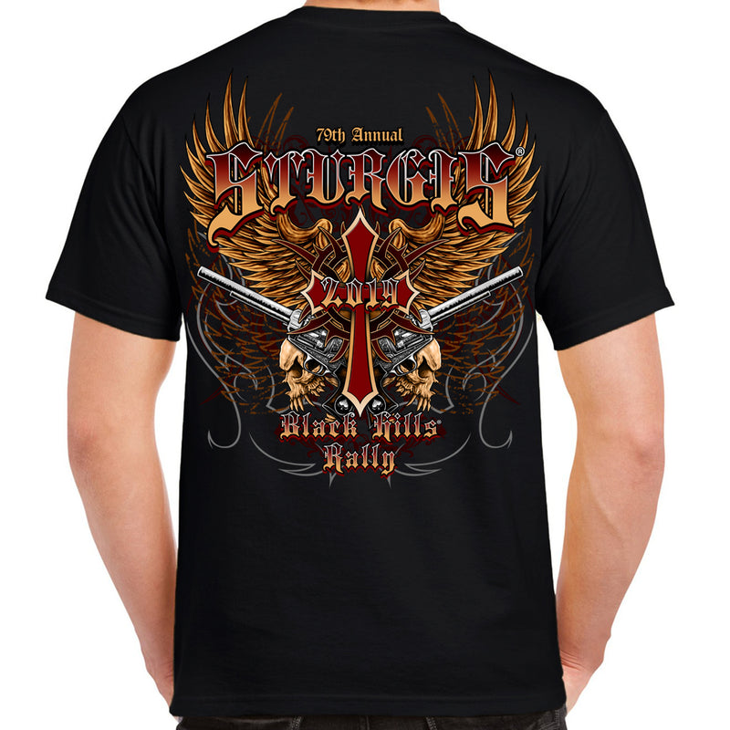 Back of 2019 Sturgis Big Wings Guns T-Shirt in Black