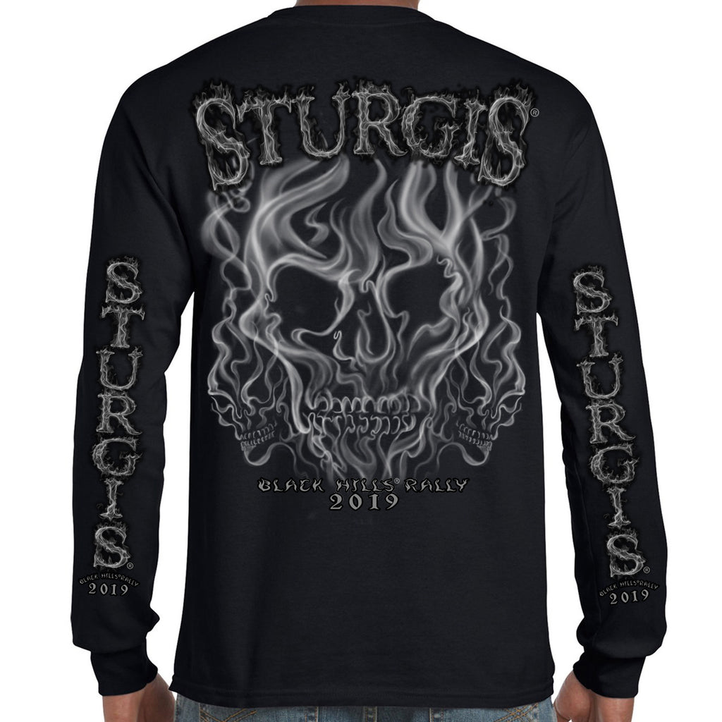 Back of 2019 Sturgis Smoke Skull Long Sleeve in Black