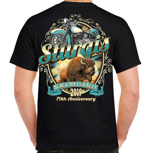 Back of 2019 Sturgis Buff My Low T-Shirt in Black