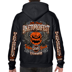 Back of 2019 Biketoberfest Pumpkin Pullover Hoodie Black