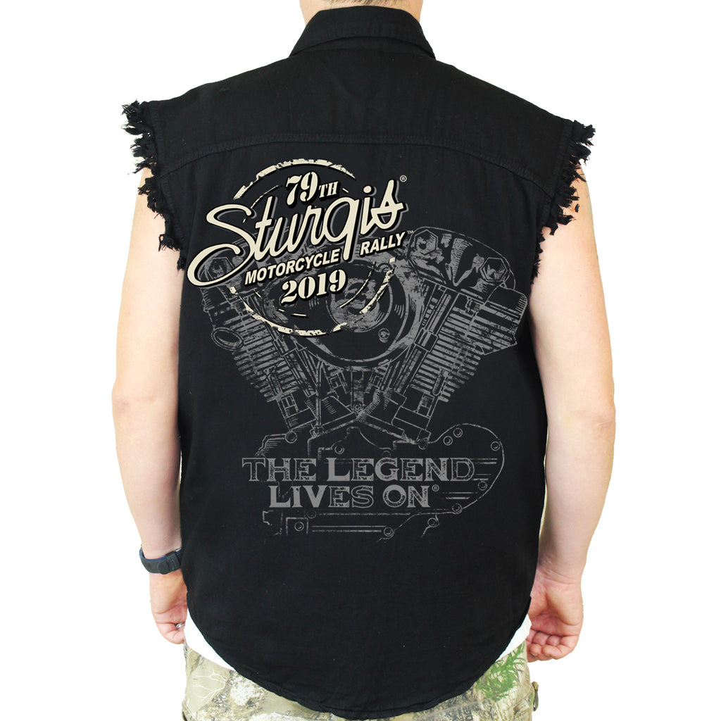 Back of 2019 Sturgis Legend Engine Cut Off Denim in Black