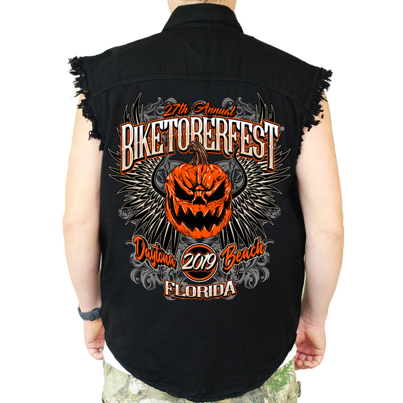 Back of 2019 Biketoberfest Pumpkin Cut-Off Denim in Black