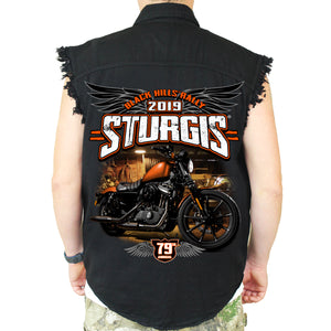 Back of 2019 Sturgis Dark Side Cut Off Denim in Black