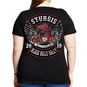 Ladies 2019 Sturgis Black Hills Rally Rocker Billy Misses Plus Scoop Neck T-Shirt