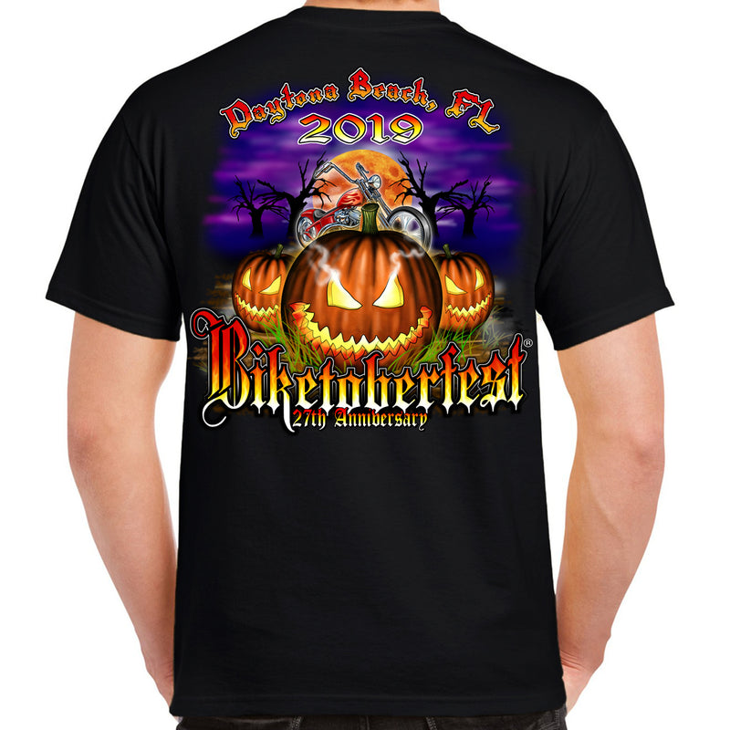 Back of 2019 Biketoberfest Jack O'Lantern Pumpkin Black