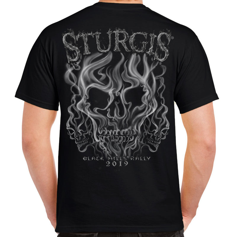Back of 2019 Sturgis Smoke Skull T-Shirt in Black