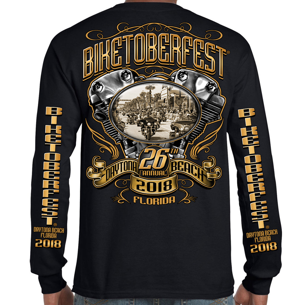 2018 Biketoberfest Daytona Beach Main Street Engine Long Sleeve Shirt