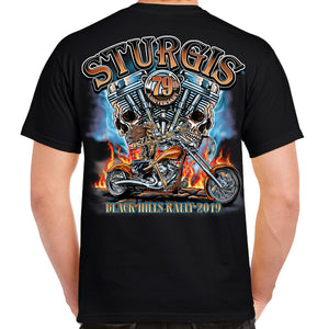 Back of 2019 Sturgis Skull Engine Rider T-Shirt in Black