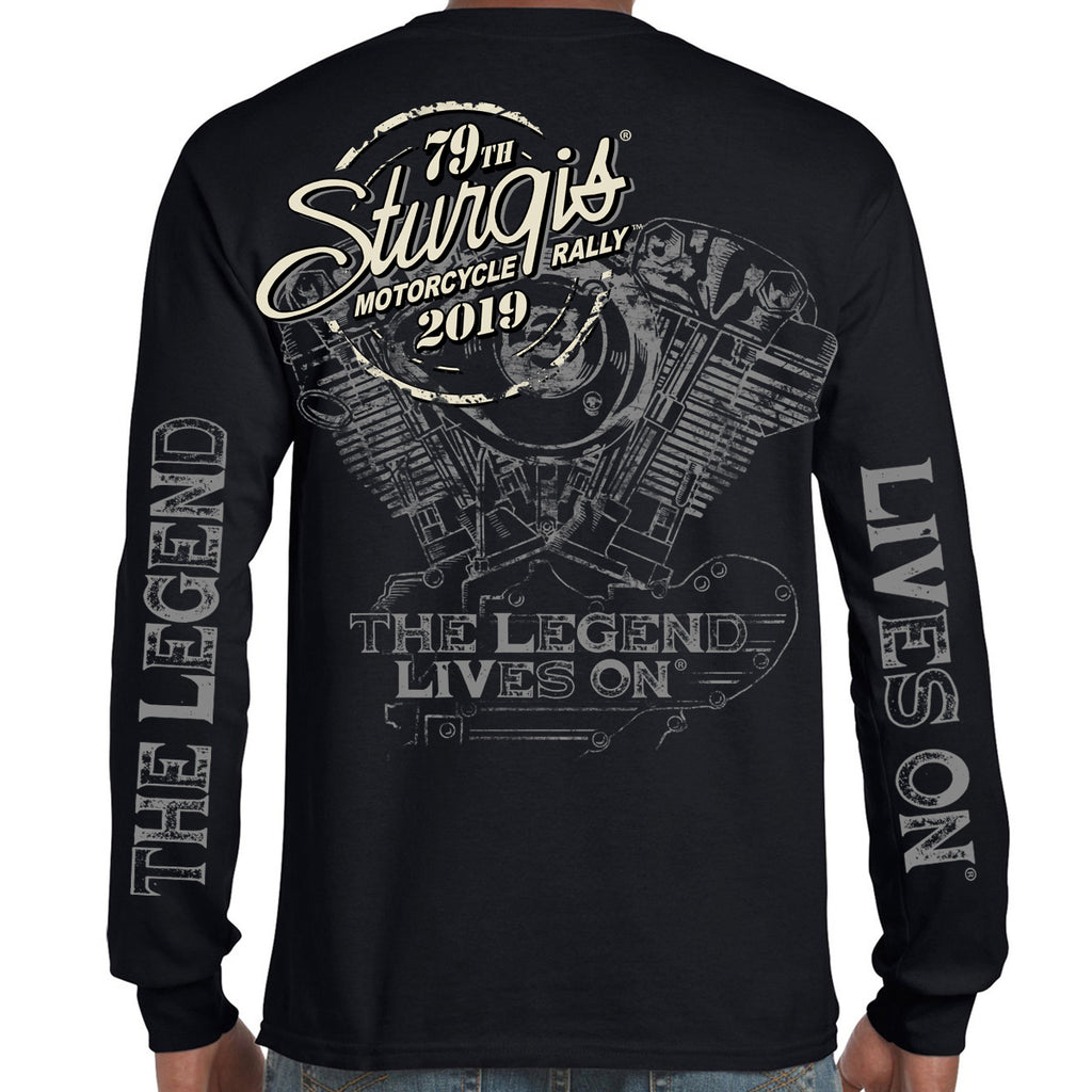 Back of 2019 Sturgis Legend Engine Long Sleeve in Black