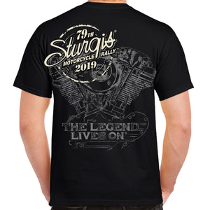 Back of 2019 Sturgis Legend Engine T-Shirt in Black