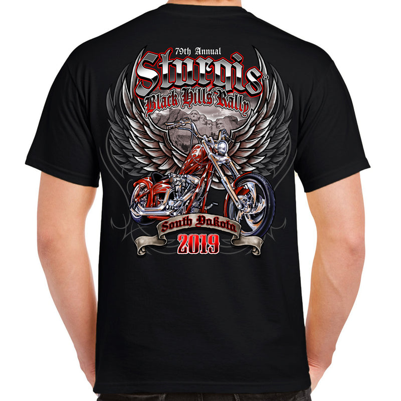 Back of 2019 Sturgis Rushmore Wings T-Shirt in Black
