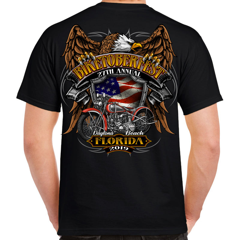 Back of 2019 Biketoberfest Rebel Rider T-Shirt in Black