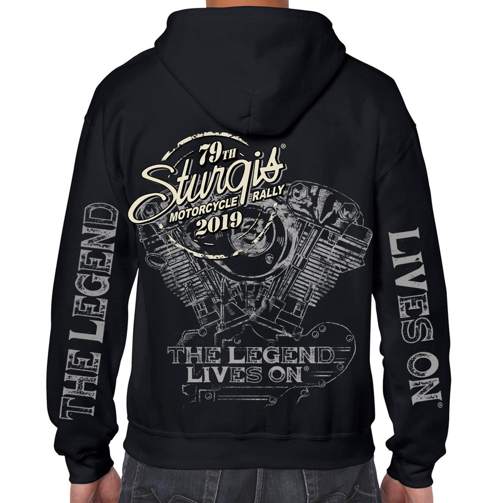Back of 2019 Sturgis Legend Engine Hoodie in Black