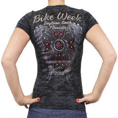Ladies 2018 Bike Week Daytona Beach Rhinestone Red Cross Wings Burnout T-shirt