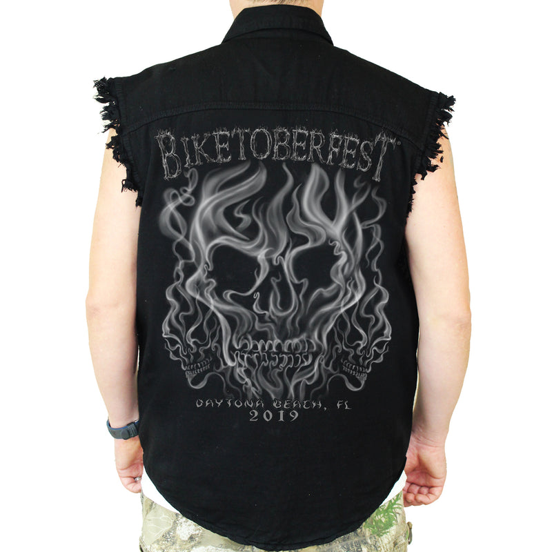 2019 Biketoberfest Daytona Beach Smoke Skull Cut-Off Denim
