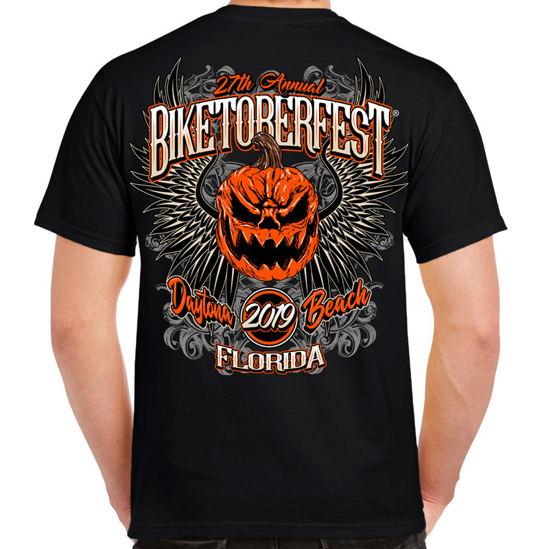2019 Biketoberfest Pumpkin Halloween T-Shirt Black Back