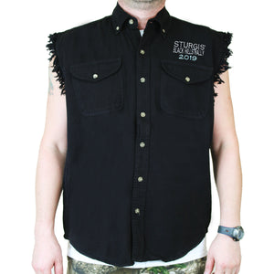 Front of 2019 Sturgis Dark Side Cut Off Denim in Black