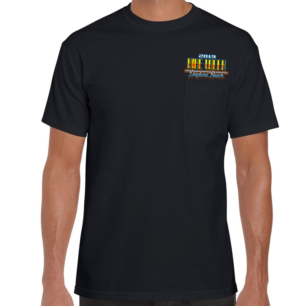 2019 Bike Week Daytona Beach Beach Shield Pocket T-Shirt