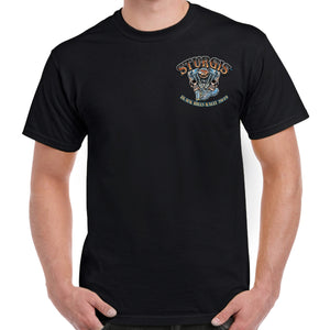 Front of 2019 Sturgis Skull Engine Rider T-Shirt in Black