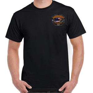 Front of 2019 Biketoberfest Rebel Rider T-Shirt in Black