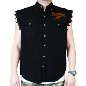 Front of 2019 Biketoberfest Pumpkin Cut-Off Denim in Black