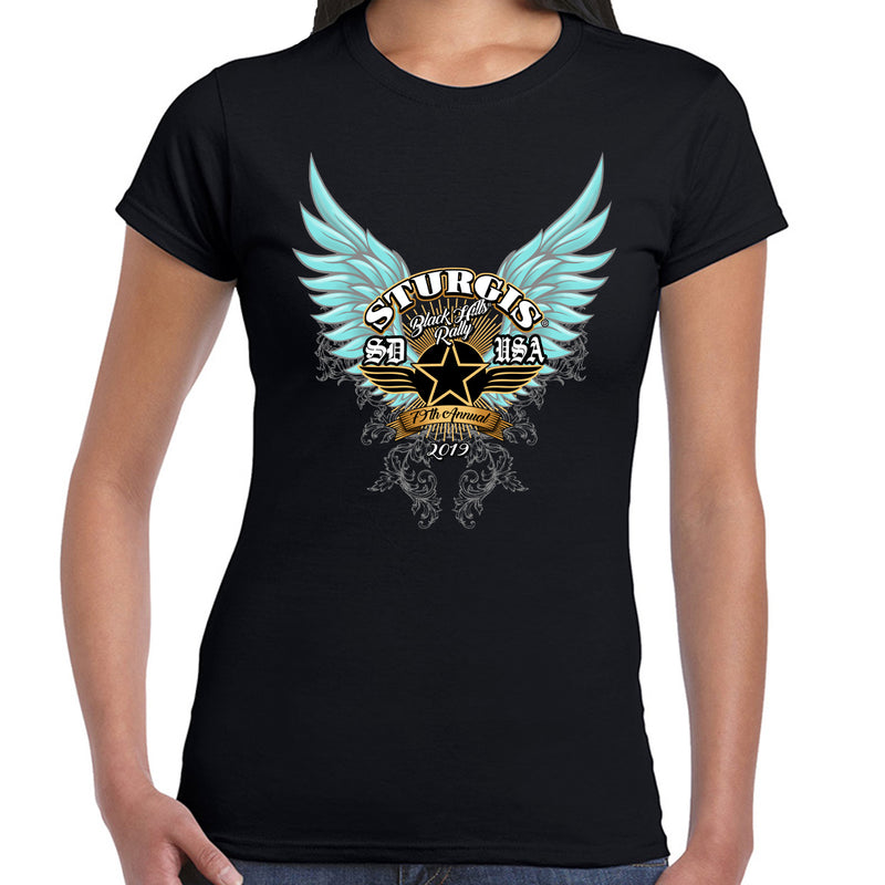 Ladies 2019 Sturgis Black Hills Rally Golden Dawn T-Shirt