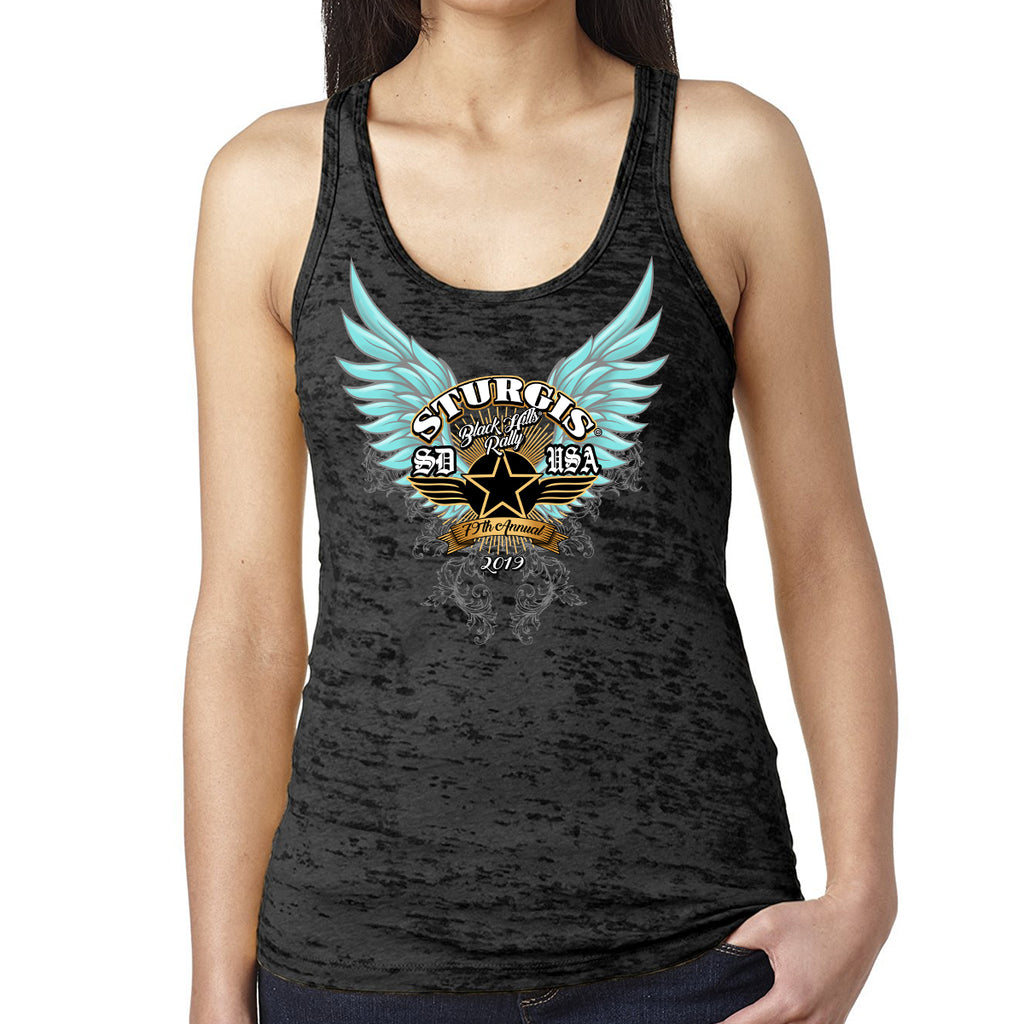 Ladies 2019 Sturgis Black Hills Rally Golden Dawn Burnout Racerback