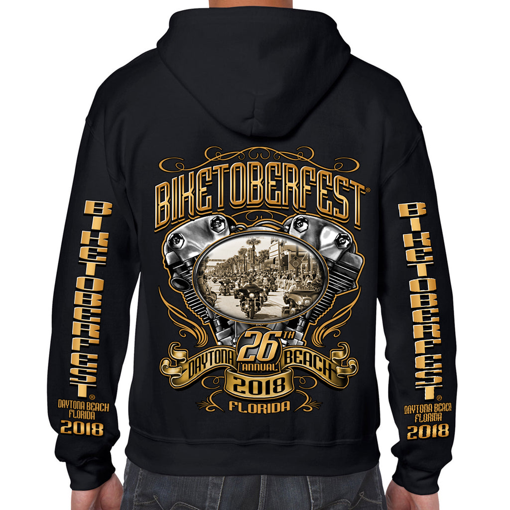 2018 Biketoberfest Daytona Beach Main Street Engine Zip Up Hoodie